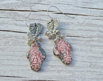 Raspberry and pewter earrings - ScorchedEarth - DayLilyStudio