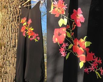 BHS Vintage Dress; Black Dress with Flowers; Viscose Dress Size M / UK 12 / Us 8 / Eur 40; V-Neck Maxi Dress; Tank Dress; Sleeveless Dress