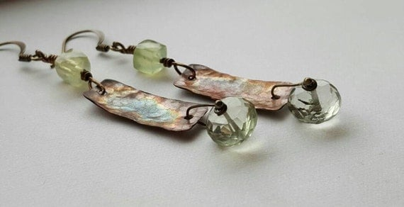 Green Amethyst And Prehnite Earrings Flame Torched Copper