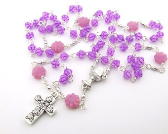 First Communion Rosary - Catholic Rosary Beads - Lilac Pink Five Decade Rosary - Girl's Rosary - Catholic Gift - First Communion Gift