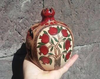 Handmade decorated pomegranate candle holder, pomegranate ceramic candlestick, ceramic and pottery, video - https://youtu.be/8VHogThsacU