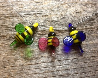 Colorful glass bee, handmade lampwork animal bead