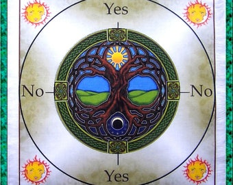 Tree of Life Scrying Mat, Dowsing wiccan Magic Divination.