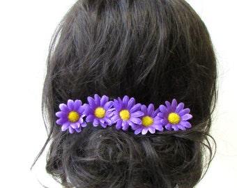 5x Purple Yellow Daisy Flower Hair Pins Chrysanthemum Floral Bridesmaid Set 1758