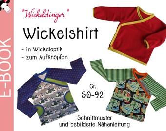 """PDF - wrap shirt """"CHANGING THINGS"""" sewing pattern Gr. 50-92 (0 m-2T)"""