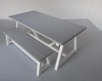 Modern Dollhouse Trundle Table and Bench Seat 1:12 Scale