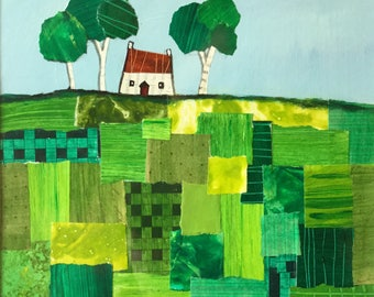 House on patchwork hill, original paper collage painting by Jane Palmer