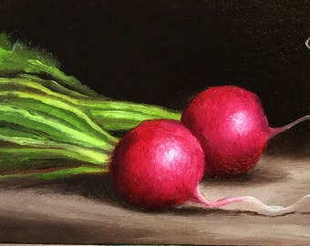 Radishes Original Oil Painting still life by Jane Palmer