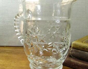 Small Pressed Glass Pitcher - Starburst