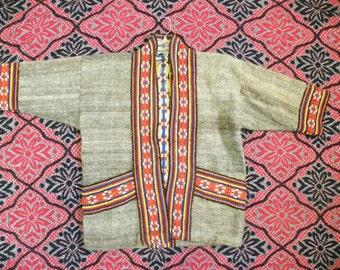 Vintage Native wool coat blanket handwoven handmade ethnic pattern small kimono jacket