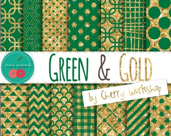 Gold and Green Glitter Digital Paper Patterns for St Patrick's Day - Shamrocks Digital Paper - COMMERCIAL and PERSONAL USE