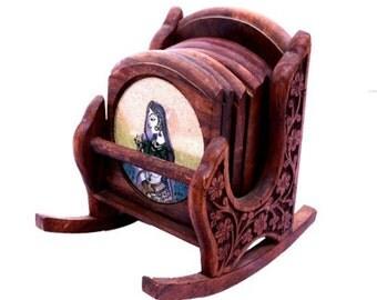 Handicrafted Wooden Tea Coaster