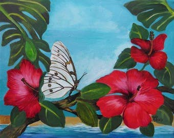 Hibiscus and Butterfly Original Painting