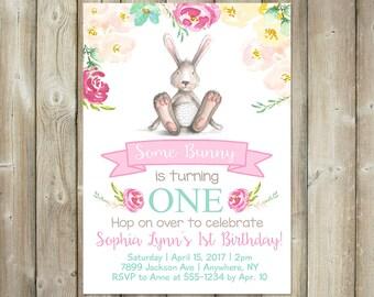 Some Bunny Birthday Invitation - DIGITAL FILE