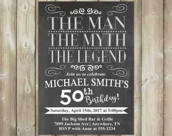 Adult Birthday Invitation - The Man, The Myth, The Legend - DIGITAL FILE