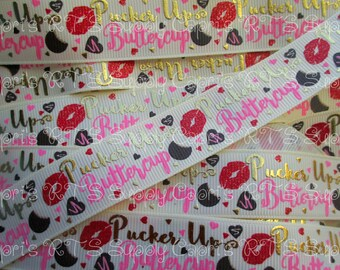 "7/8"" Pucker Up Buttercup on Cosmic Latte Tan Kiss Valentine's VDay US Designer Grosgrain Ribbon"