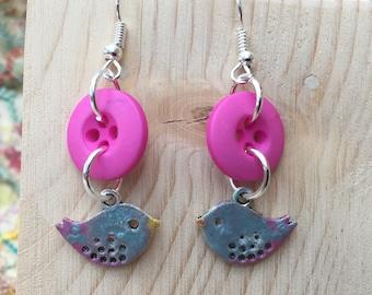Turquoise Enamel Earrings, Bird Earrings, Turquoise Earrings, Bird Jewelry, Enamel Earrings, Turquoise jewelry, Enamel Jewelry, Earring Gift