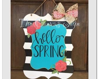 Black and White Stripe Door Hanger - Choose your wording
