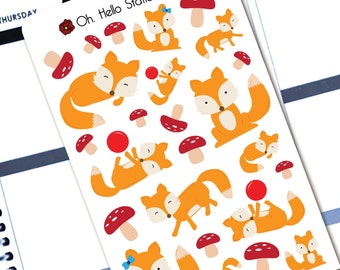 Adorable Fox Stickers  - Planner Stickers for Erin Condren Life Planners - A9
