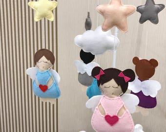 Crib Mobile ANGELs felt mobile babyshower gift