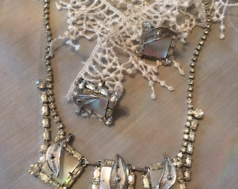 Sterling and Rhinestone 'Jay Flex' Vintage Necklace & Earring Set