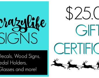 Gift Certificate - 25 Dollar