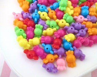 25 Assorted Bright Candy Beads, Taffy Beads, Hard Candy Beads, Chunky Beads #1013