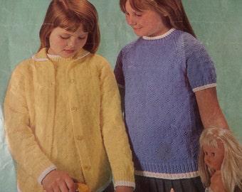 588087e18b513b Knitting Pattern Children Baby Girl Twin Set Cardigan and Top 4 ply DK  22-28