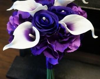 "JennysFlowerShop 12""W Real Touch Calla Lily Wedding Bride Bouquet in Purple Silk Roes Hydrangeas Round Bouquet"