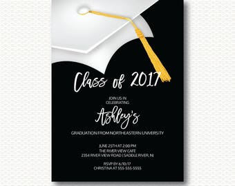 Graduation Invitation, Class of 2017, Graduation, Cap, Hat, Black, White, Tassel, Modern, Grad, Party, Unique, Digital, Printable Invitation