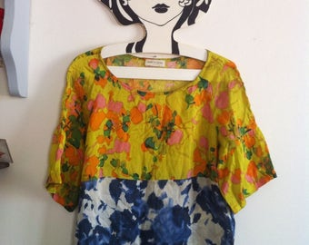 Dries Van Noten beautiful & colorful silk top, 2 different floral patterns screen printed / xsmall - small