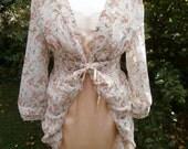 Romantic Upcycled Dress  Jane Austen Regency Period Inspired  UK Size 10  US Size 6  Chiffon Empire Line Tie  Peach Satin Lace Slip