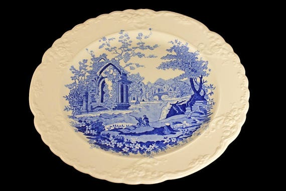 Dinner Plate, Taylor Smith & Taylor, English Abbey, Fairway, Embossed, Hard to Find, Blue and Cream Colored, Fine China