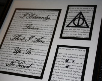 """Upcycled Hand-Painted """"I Solemnly Swear That I Am Up To No Good"""" Quote with Deathly Hallows Symbol & Stars Harry Potter Book Page Wall Art"""