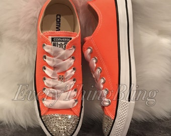 Custom Converse-SWAROVSKI clear/diamond Elements BLING-Womens Sizes-Classic Style-Low Tops All Star-Chuck Taylors-Clear Bling