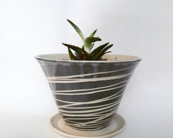 Black and white spiral ceramic  planter- wheel thrown ceramic indoor planter - ceramic home and garden decor