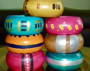 Handpainted bangles in bright colours