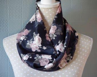 Black and pink flowered snood, black flowered cowl, black flowered loop scarf
