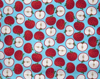 Robert Kaufman Turquoise and Red Metro Market Apples - Cotton Quilting Fabric by the Yard - DLP