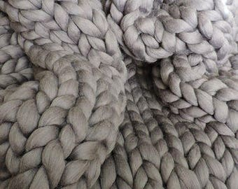Super Chunky Knit Blanket Chunky Knit Blanket  21 micron Merino Wool 40 x 90 Natural Grey