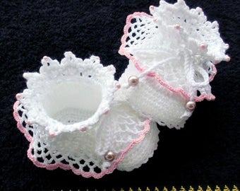 Crochet white shoes,Crochet Christening shoes,Crochet baby shoes,Crochet baby booties