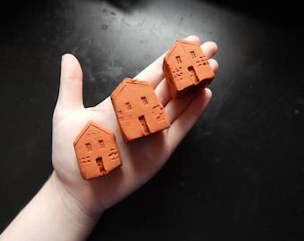Miniature Clay Houses (set of 3)