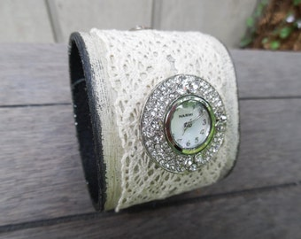 Shabby Chic Ivory Lace Painted Round Austrian Crystal Watch Upcycled Leather Cuff Bracelet