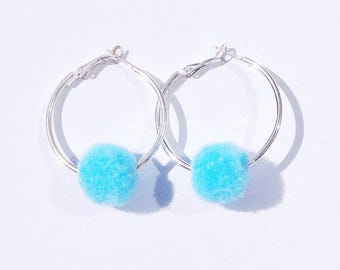 Blue Pom Pom Hoop Earrings