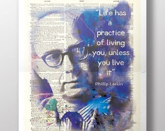 Philip Larkin Quote - Upcycled Dictionary Print: Vintage Art Poetry - Motivation, Positive, Live Life