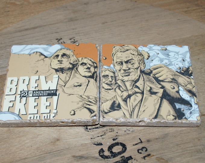 UPcycled Coaster (set of 2) - 21st Amendment - Brew Free or Die