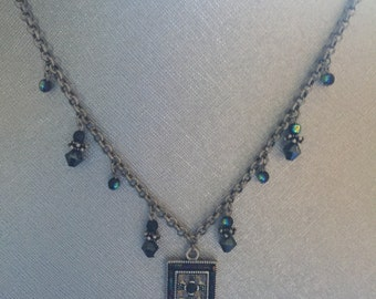 Premier DesignsSilver and Dark Blue Beads Necklace apprx 18 inch