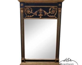 LaBarge Black U0026 Gold Gilt Frame Regency Style Mirror