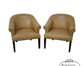 Quality Barrel Back Leather Club Chairs