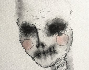 Disguised Beauty, horror art, watercolor, horns, skulls, scary, handmade, original art